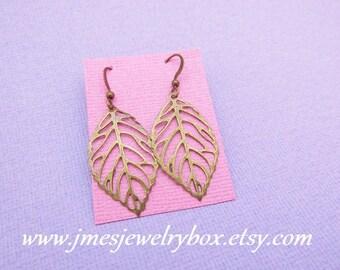 Antique bronze leaf earrings - Antique brass leaf earrings