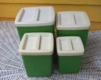 Wonderful Vintage 1960s Plastic Canister Set 4 pieces with lids Kelly Green and white