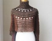BROWN PONCHO BOHO Chic Crochet Bohemian Shawl Capelet Turtleneck // Knit Trendy // Chic Fashion // Boho Circle Vest Original Design