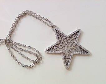 Antique Silver Star Necklace, Star Pendant Necklace, Trendy Long Necklace, Silver Jewelry, Gift for Her, Necklaces, Best Gifts
