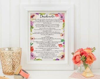 Desiderata - Printable Wall Art - Quote Printable - Printable Quote - Motivational Quote - A4 Print - Inspirational Quote - Instant Download