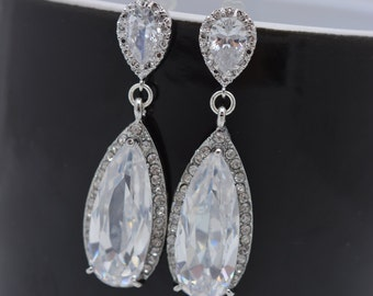 Long Teardrop Earrings, Bridal Earrings, Crystal Wedding Earrings, Rhinestone Bridal Earrings, Large Teardrop Earrings, Long Earrings 0292