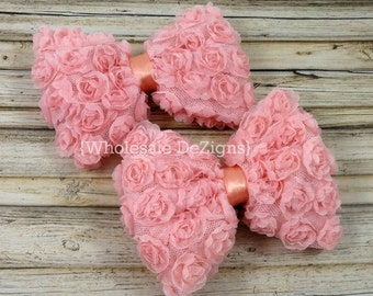 "Peach Rosette Bows - Large Mesh Chiffon Bow - 4"" - Set of Two 4 inch"