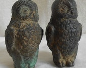 reserved for lisa Pair of Vintage Bronze Owl Minatures Verdigris