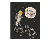 Moon & Back Art Print 8x10 11x14