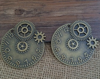 2pieces 43*43MM Clock gear  Charm  -  antique bronze charm pendant  Jewelry Findings