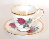 English China Demitasse Cup and Saucer Paragon Red Roses and Gold Bone China Demitasse Teacup - England - Mid Century