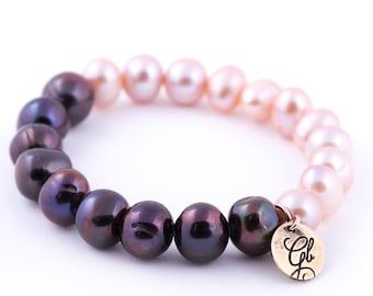 Double color bracelet with baroque pearls - black and rose