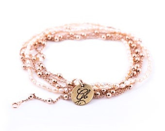 Necklace/Bracelet with freshwater pearls in rose gold