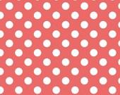 Riley Blake Designs, Coral Fabric, White Polka Dot, Medium Dots, Cotton Sewing Material, Fat Quarter, Half Yard, 1 Yard, By The Yard