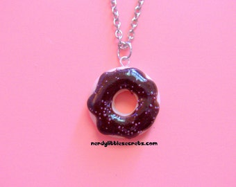 Realistic Chocolate Icing Pink Sprinkles Donut Necklace