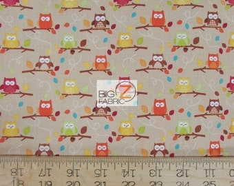 "100% Cotton Fabric By Riley Blake - Harry Harvest Owls Khaki - 45"" Width Sold By The Yard (FH-1784)"