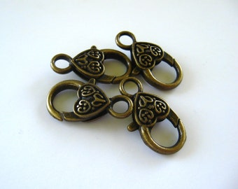 Antique Brass Heart Lobster Clasps (4) 20mm Extra Large Decorative Claw Clips Plated Wholesale Findings Jewelry Supply Bulk CrazyCoolStuff