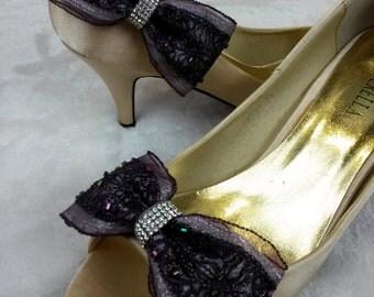 Wedding Bride lace shoe clips