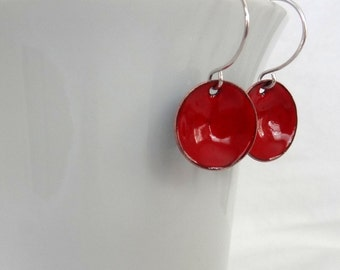 Red Enameled Disc Earrings