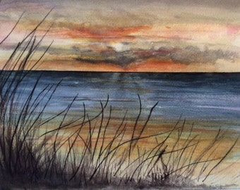 Sunset beach seaside scene   8 x 10  watercolor print