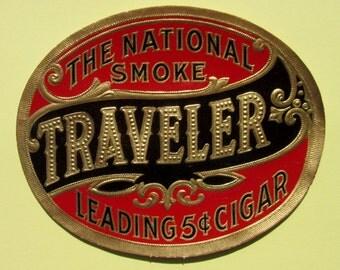 Vintage Original Cigar Label Traveler Brand The National Smoke with Embossed Lettering, Metallic Gold Border Use for Decoupage or Scrapbooks