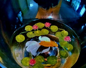 "3D Fantail Goldfish in ""Bowl"" Stemmed Glass"