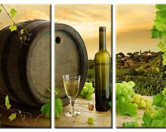 Framed Huge 3 Panel Art Italy Tuscany Wine Grape Giclee Canvas Print - Ready to Hang