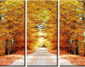 Framed Huge 3-Panel Autumn Maple Tree Road Canvas Art Print - Ready to Hang