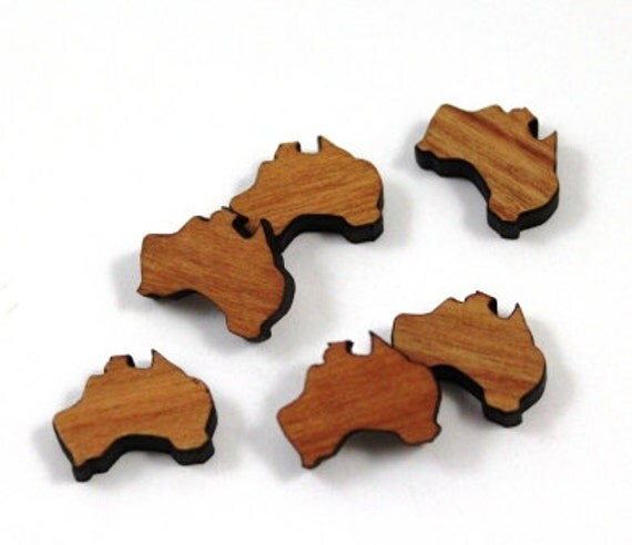 Laser Cut Supplies- 8 Pieces.Australia Charms - Laser Cut Wood Australia -Earring Supplies- Little Laser Lab Sustainable Wood Products