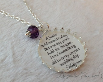 Junior Bridesmaid necklace, flower girl, bridal pendant charm, bridesmaid gift, personalized, custom made bouquet charm, Jr. One Day.. KE13