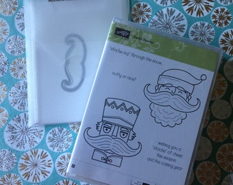 Stampin'Up! Stamp set and matching die. Santa Stache. Woodmount. Good condition.