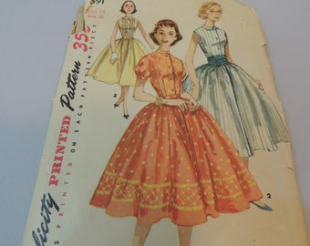 1950s Full Skirt Party Dress Pattrn size 14 Simplicity 1591