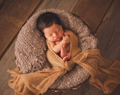 Newborn Photo Prop Set : Camel Knit Wrap with Free Headband for Newborn Photo Shoot, Maternity Prop, Newborn Photography Wrap, Infant Photo