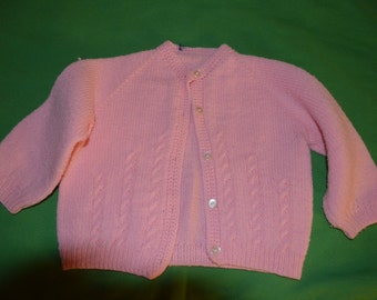 ON SALE   Adorable Vintage Hand Knit Pink Baby Sweater