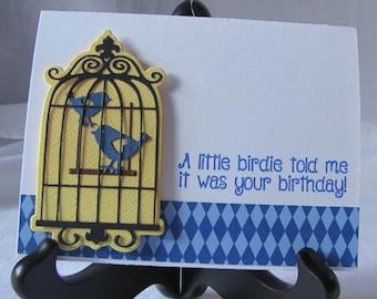 Birthday Card, Bird Cage Card, Birdie Card