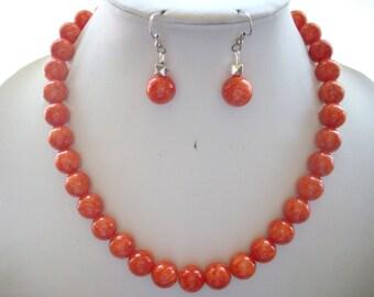 Dark Orange Marbled Jade Bead Necklace and Earrings