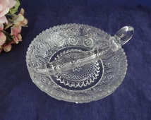 """Duncan Miller Sandwich Glass Divided Relish Nappy with One Handle - Small Nut Candy Dish Serving Bowl - Cute 5"""" Nappy"""