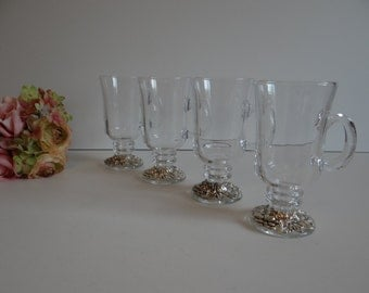 Clear Glass Irish Coffee Mugs with an Embossed Silverplate Base - Set of Four - 2 Sets Available