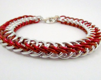 Red and Silver Bracelet – Half Persian Weave Chainmaille Bracelet - Nickel Free Chain Bracelet for Men and Women - Handmade Chainmail