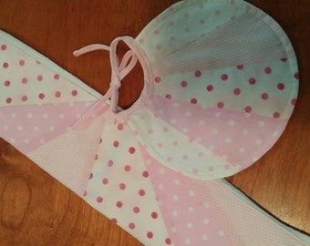 Pink Pieced Burp Cloth and Bib Set