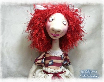 Cloth Doll - Cloth Art Doll - Art Doll - OOAK Doll - Fiber Art Doll - Textile Doll - Patriotic Doll - Soft Doll - Fabric Art Doll