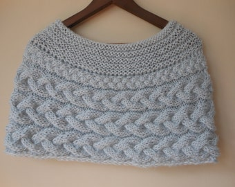 Cable Knitted Shawl Capelet Wedding Shrug Poncho Neck Warmer  Grey Choose Color