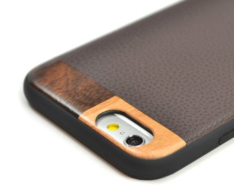 Leather iPhone 6 Plus Case, iPhone 6s Plus Leather Case, Wood/Leather iPhone 6 Plus Case - LTR-BR-I6P