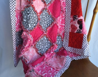 Reversible Girl Flannel Rag Quilt Blanket Pink Red Black