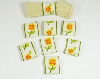 Needlepoint Flower Lined Napkin Rings