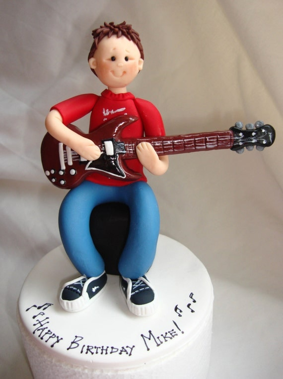 Guitar Player Musician Birthday Cake Topper 18th 21st 30th