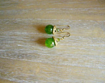 Green dangle earrings Green glass earrings