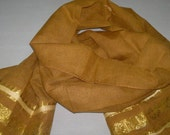 Small Scarf Vintage Scarf Indian Sari Scarf Brown Scarf Upcycled VSF1