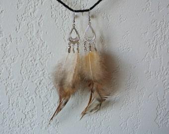 Multi-color feather chandelier earrings on sterling silver hooks