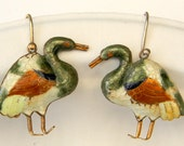 Vintage Early Laurel Burch Style 1970s NOS Cloisonné Enamel Mallard Duck Pierced Earrings Sterling Silver Gold Wash