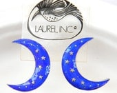 Vintage Early Laurel Burch 1970s NOS Cloisonné Enamel Crescent Moon Pierced Earrings Sterling Silver 24k Gold Wash