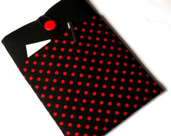 """Lenovo 13 inch Case, Asus ZenBook 13"""" MacBook Sleeve, 12-13"""" Laptop Case with Pockets-SUPERIOR Shock Absorbent Foam Padding - Red Polka Dots"""