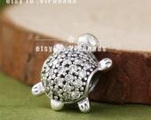 2015 NEW 100% 925 Sterling Silver Sea Turtle with Clear CZ Charm Bead Fit European Style Jewelry Bracelets & Necklaces BE259