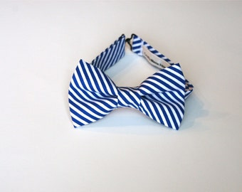 Bow Tie -White and Blue lines.